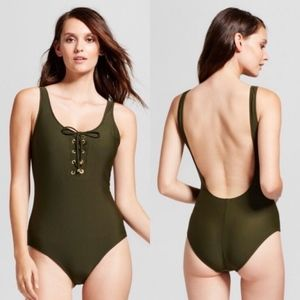 Massimo Lace Up Open Back One Piece Swimsuit S